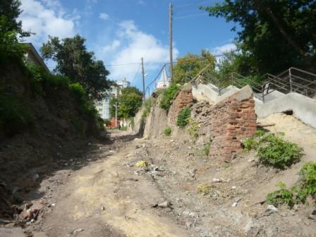 Ход работ по ремонту Нагорной лестницы